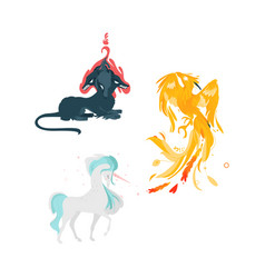 flat cartoom myhical animals set vector image vector image