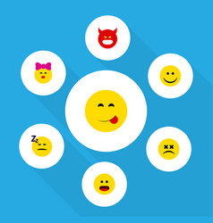 flat icon emoji set of cross-eyed face wonder vector image
