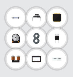 flat technology set of hdd coil copper receiver vector image