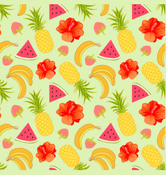 Floral seamless pattern with tropical fruit vector