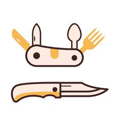 folding tourist knife icon vector image