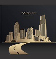 golden cityscape with skyscrapers vector image