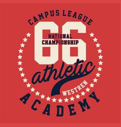 Graphic campus league athletic vector