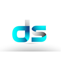 Grey blue alphabet letter ds d s logo 3d design vector