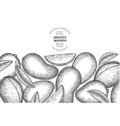 Hand drawn sketch style mango banner organic vector