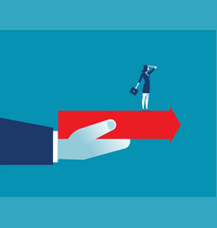 hand holding arrow with businesswoman standing vector image