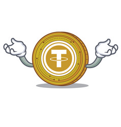 Hand up tether coin character cartoon vector