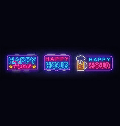 Happy hour neon banner collection design vector