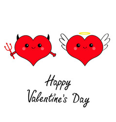 happy valentines day devil angel evil amour red vector image