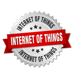 internet of things round isolated silver badge vector image vector image