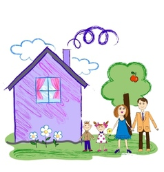 kids sketch happy family with house vector image