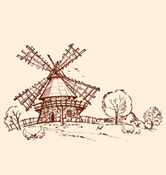 Landscape mill chicken vector