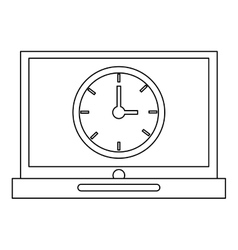 laptop with clock vector image