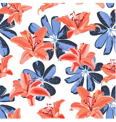 Lily flower seamless pattern on white background vector