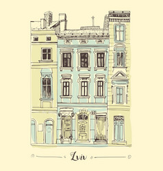 lviv house hand drawn sketch vector image