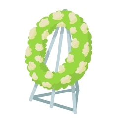 Memorial wreath icon cartoon style vector