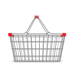 Metal wire small shopping basket for mall and vector