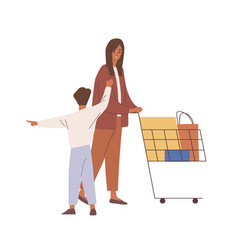 Mother and child during shopping woman and kid vector