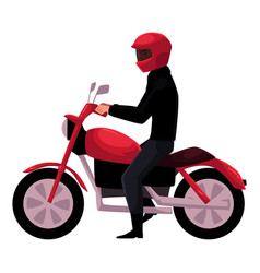 motorcycle motorbike rider wearing helmet side vector image