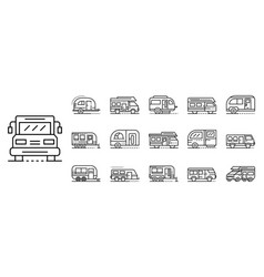 Motorhome icons set outline style vector