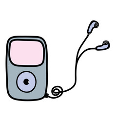 Mp3 player with headphones to listen music vector