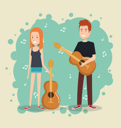 music festival live with couple playing guitars vector image