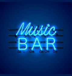 neon music bar signboard on the blue background vector image