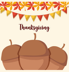 Nuts for thanksgiving day with leafs and garlands vector
