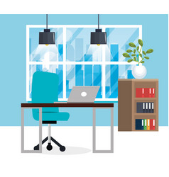 Office workplace scene icon vector