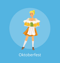 oktoberfest poster with smiling german waitress vector image