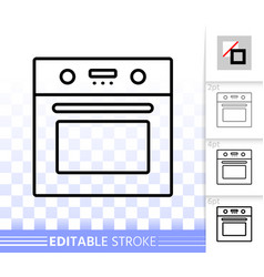 oven simple black line icon vector image