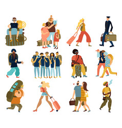 people trips isolated icons set vector image
