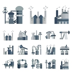 Plants and factories flat icons vector image