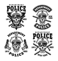Police department emblems with skull vector