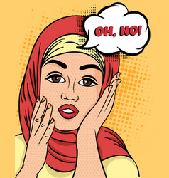 Pretty muslim woman in hijab exclaiming - oh vector