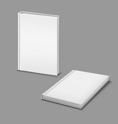 realistic detailed 3d white blank hardcover books vector image