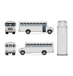 Realistic white bus mock-up vector