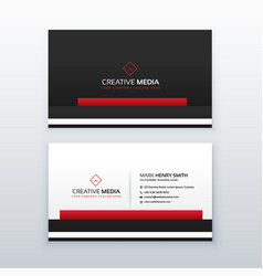 red and black professional business card design vector image