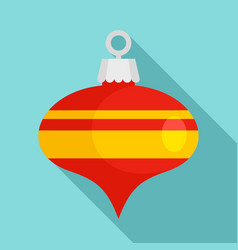 Red xmas cone toy icon flat style vector