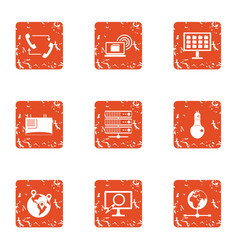 ring icons set grunge style vector image