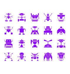 Robot color silhouette icons set vector