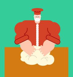 Santa claus chef dough kneads christmas bake cake vector