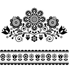 scandinavian folk art pattern with flowers vector image