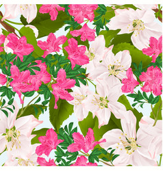 Seamless texture pink rhododendrons and twig vector