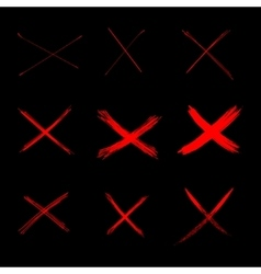 Set Abstract Sketch Red Crosses vector image