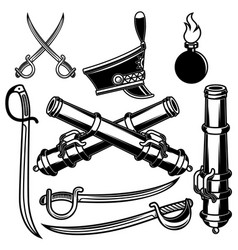 Set hussar weapon sabers cannons design vector