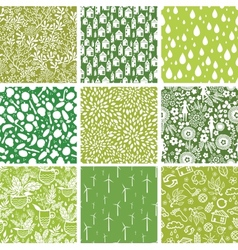 Set nine ecological seamless patterns vector