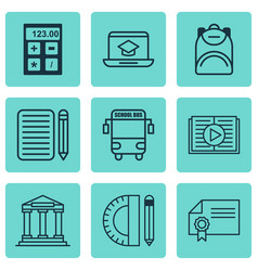 Set of 9 school icons includes electronic tool vector