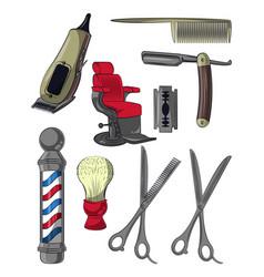 set of barbershop utensils vector image