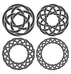 Set of celtic knotting rings 4 circular decorative vector image